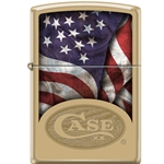 Case Solid Brass Lighter Flag-Logo 12590