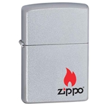 Zippo Logo with Flame-Satin Chrome